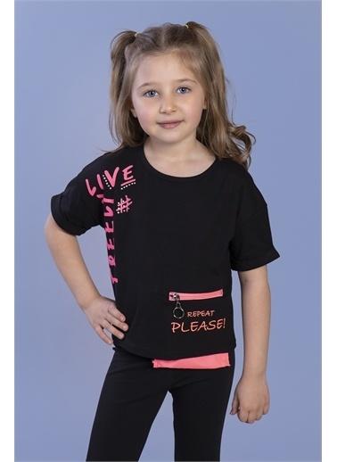 Toontoy Kids Toontoy Kız Çocuk Neon Uyumlu Cep Detaylı Baskılı Tişört Siyah